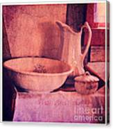 Vintage Pitcher And Wash Basin Canvas Print