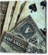 Vintage Playing Cards And Cash Canvas Print