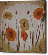 Vintage Red Poppies Painting Canvas Print