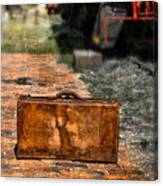 Vintage Suitcase By Train Canvas Print