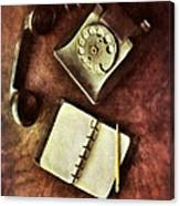Vintage Telephone And Notebook. Canvas Print