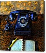 Vintage Telephone And Notepad Canvas Print