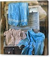 Vintage Trunk With Ladies Clothing Canvas Print