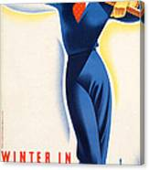 Vintage Winter In Austria Travel Poster Canvas Print