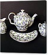 Viola Teapot With Creamer And Sugar Bowl Canvas Print