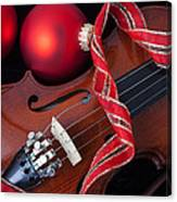 Violin And Red Ornaments Canvas Print
