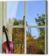 Violin On A Window Sill Canvas Print