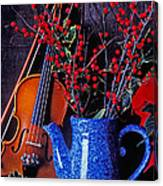 Violin With Blue Pot Canvas Print