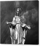 Virgin Mary And The Thunderstorm Bw Canvas Print