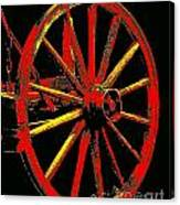 Wagon Wheel In Red Canvas Print