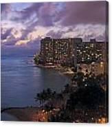 Waikiki At Night Canvas Print