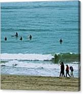 Waiting Surfers Canvas Print