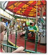 Waiting To Ride Carousel Canvas Print
