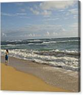 Walking In The Water At  Anahola Beach Canvas Print