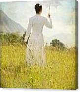 Walking On The Meadow Canvas Print