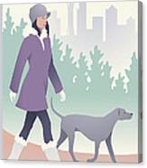 Walking The Dog In Seattle Canvas Print