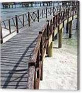 Walkway To Holiday Huts Over Lagoon Canvas Print