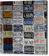 Wall Of License Plates Canvas Print