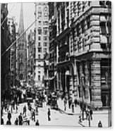 Wall Street Looking Toward Old Trinity Church - New York City - C 1910 Canvas Print