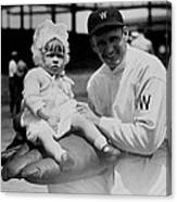 Walter Johnson Holding A Baby - C 1924 Canvas Print