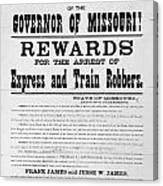 Wanted Poster, 1881 Canvas Print