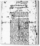 War Of 1812: Broadside Canvas Print