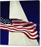 Washington Monument And American Flag Canvas Print
