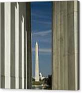 Washington Monument Framed By Lincoln Memorial Canvas Print