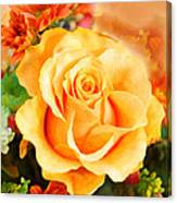 Water Color Yellow Rose With Orange Flower Accents Canvas Print