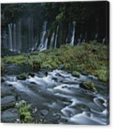 Water Falling And Flowing Over Rocks Canvas Print