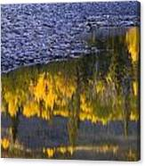 Water Reflections With A Rocky Shoreline Canvas Print
