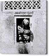 Water Vendor In Jaipur Canvas Print