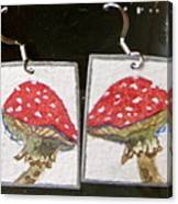 Watercolor Earrings Amanita Canvas Print