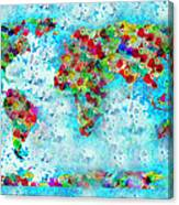 Watercolor Splashes World Map Canvas Print