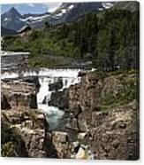 Waterfall At Many Glacier Canvas Print