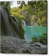 Waterfall At Plitvice National Park In Canvas Print