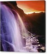 Waterfall At Sunset, Bugaboo Glacier Canvas Print
