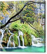 Waterfall In The Plitvice Lakes National Park Canvas Print