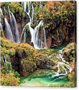 Waterfalls In Autumn Scenery Canvas Print