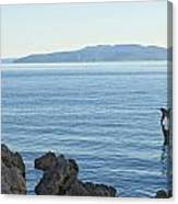 Waterfront Of Opatija Showing Statue Canvas Print