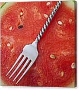 Watermelon And Fork Canvas Print