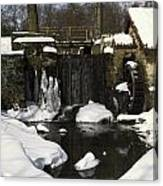 Waterwheel And Stream In Winter Canvas Print
