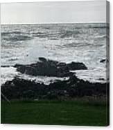 Wave Hitting Rock Canvas Print