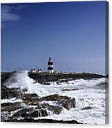 Waves Crash Against The Wexford Coast Canvas Print
