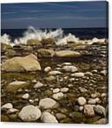 Waves Hitting Rocks, Anchor Brook Canvas Print