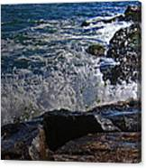 Waves Meet Jetty Canvas Print