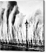 Waves Smashing Seawall, 1938 Canvas Print