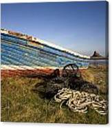 Weathered Fishing Boat On Shore, Holy Canvas Print