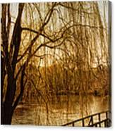 Weeping Willow And Bridge Canvas Print