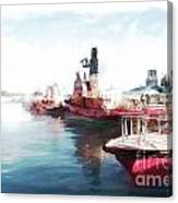 Wellington Harbour Tugs At Anchor Waterloo Quay Canvas Print